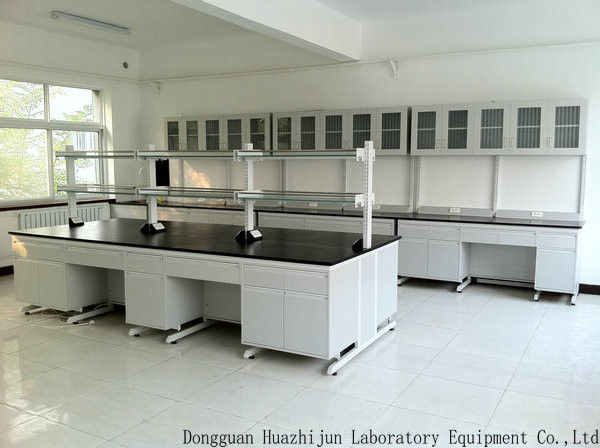 Physicochemical Wood Lab Furniture , 12.7mm Board Science Lab Island Table