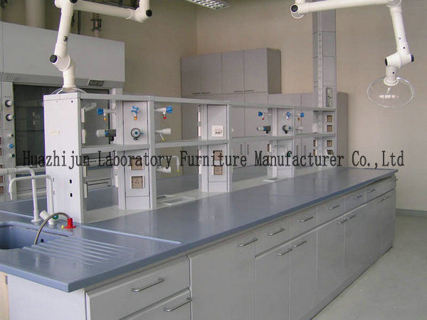 Chemical Laboratory Working Table Non - Slip Adjust Feet With Reagent Shelf