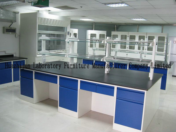 Hight Adjustable Laboratory Desk Furniture Island Bench 2 Layers Reagent Shelf