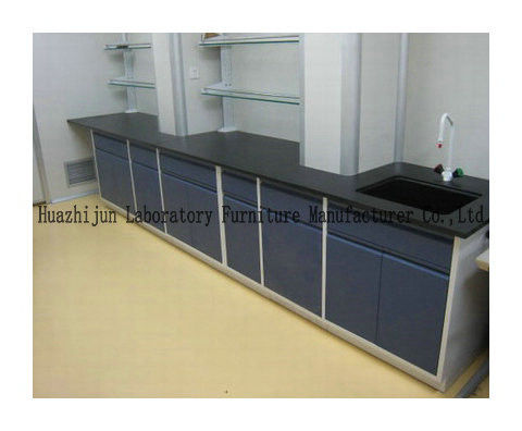 Hight Adjustable Steel Lab Furniture , Laboratory Wall Bench With Reagent Shelf