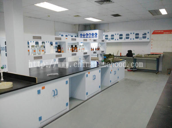 Floor Mounted Chemistry Lab Cabinets Ploypropylene Island Table Workbenches